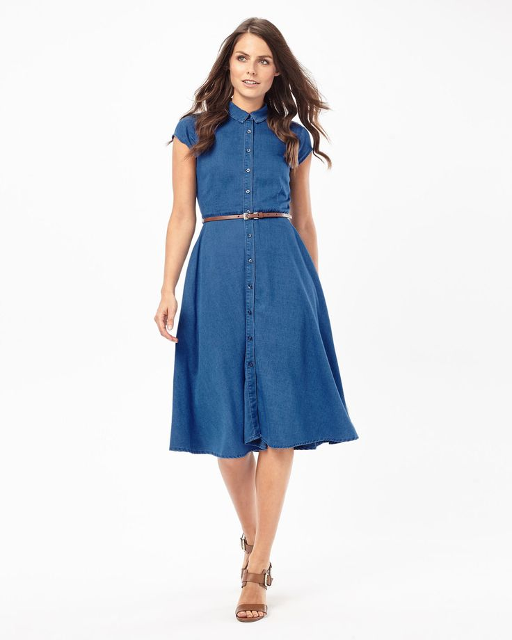 Phase Eight Sophie Denim Chambray Dress Blue