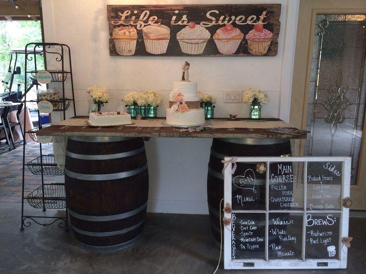 Wine barrel dessert table