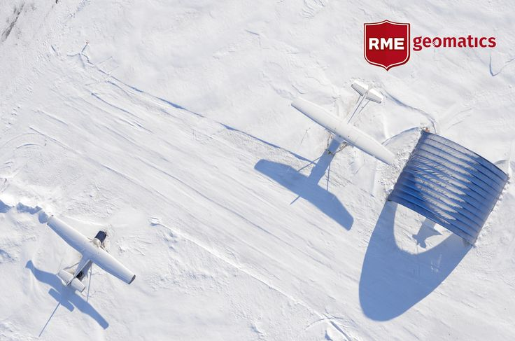 White on white, aerial view of two aircraft at Carp Airport, Ontario