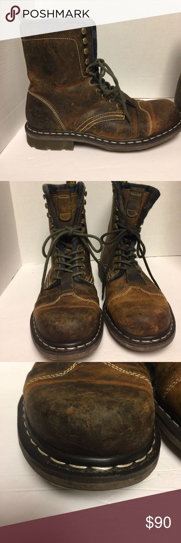 Buckle Dr, Martens men's boots Excellent condition, smoke free home, distressed look, boots still have some of the original stickers on inside them, lined with gray and black checkered lining, great look, boots are about 9 inches tall. Dr. Martens Shoes Boots