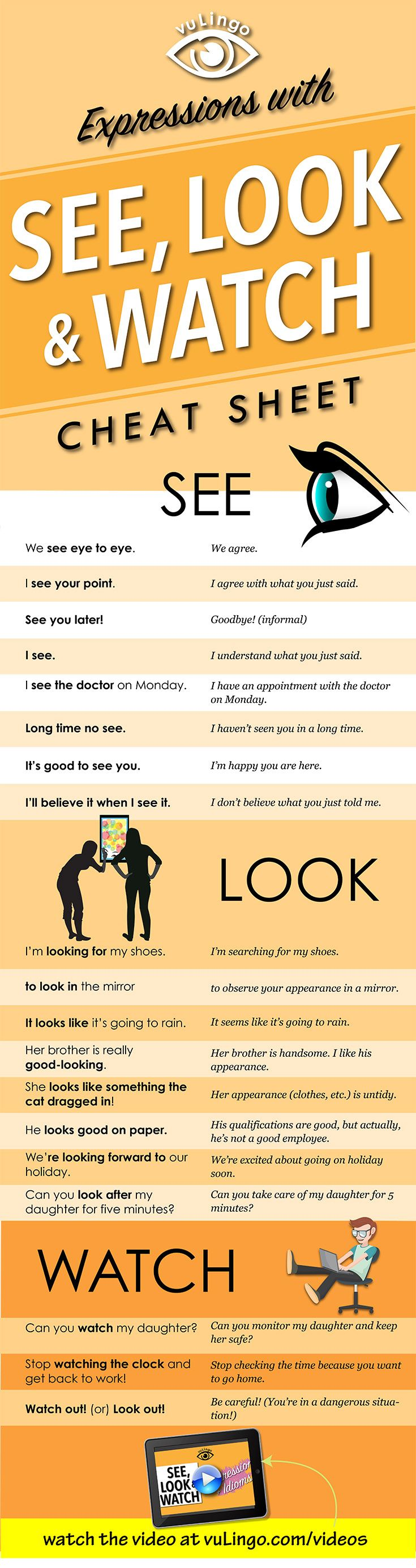21 Expressions and Idioms with SEE LOOk & WATCH that Native English speakers use