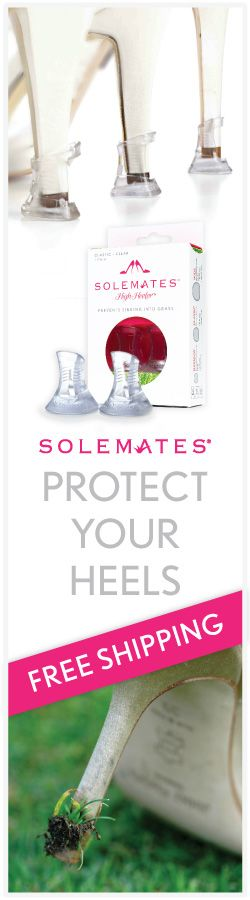 The original, patented, and best way to protect your high heels, the Solemates Heel Protector is mechanically engineered to prevent heels from sinking into the grass. By increasing the surface area on the bottom of the heel (in a discreet and elegant way), the pressure is dissipated and you can walk across unsupportive or uneven surfaces with ease. The Complete Collection offers all 3 sizes of Solemates in one beautiful package.