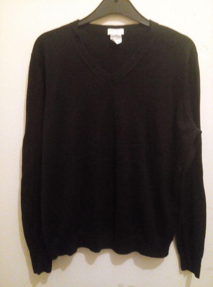 DRIES VAN NOTEN Genuine V Neck Jumper Black 100% Cotton Long Sleeved Size XL
