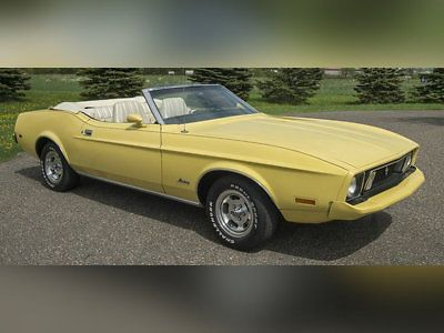 eBay: 1973 Ford Mustang -- Ford Mustang Convertible Yellow with 27,796 Miles, for sale! #fordmustang #ford