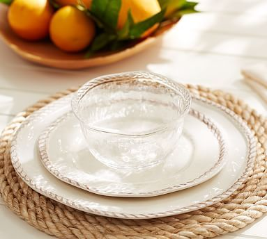 Rope Outdoor Dinnerware, White #potterybarn