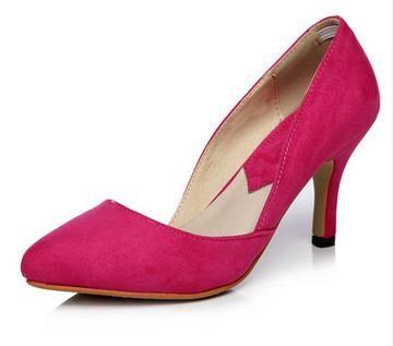 Замши Женская Обувь На Каблуках Европейских И Американских Роуз Обувь Мелкая Рот Побочные Пустые Заостренные Туфли На Высоких Каблуках Небольшой Размер 31-39