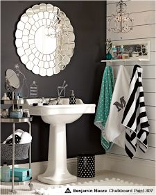 Key Interiors by Shinay: Teen Girls Bathroom Ideas. Love the black/grey/turquoise color combo!