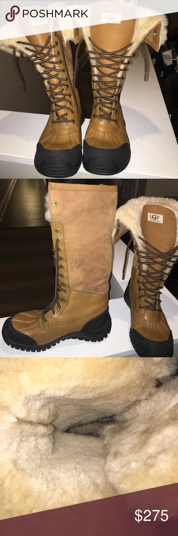 UGG ADIRONDACK TALL BOOTS Worn twice; boots are in like new condition. No original box. Still fluffy! See comments.....Size fits a wide 8.5 without any socks! UGG Shoes Winter & Rain Boots