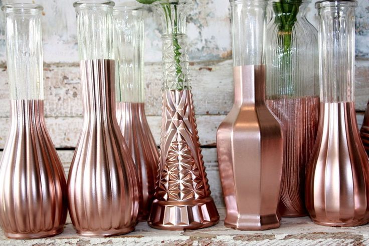 Rose Gold vases, gold wedding decor,  Set of 12 rose gold dipped vases and, gold…