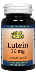 Natural Factors Lutein capsules combine 20mg of Lutein (a natural carotenoid) with bilberry and Multi-Anthocyanidins for increased effectiveness. Lutein is an antioxidant which protects the eyes retina, and supports the circulatory system and the body's natural defenses. Lutein is extracted using a patented process. Bilberry improves eye function, especially night-time visual acuity. On sale at The Health Garden for $12.39