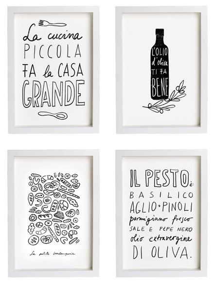 Anek LA CUCINA Kitchen Art Typography Print - high quality fine art print. $30.00, via Etsy.