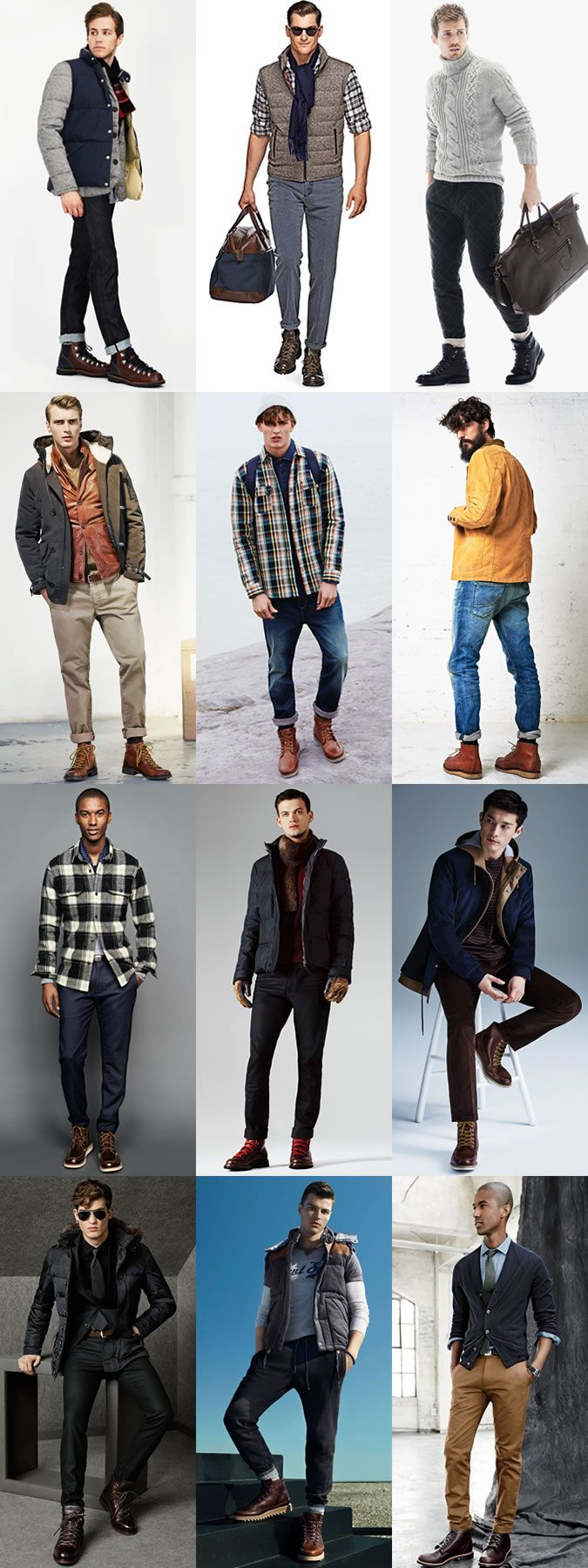 5 Classic Men's Autumn/Winter Boot Styles: 1. Hiking Boots Outfits Lookbook Inspiration