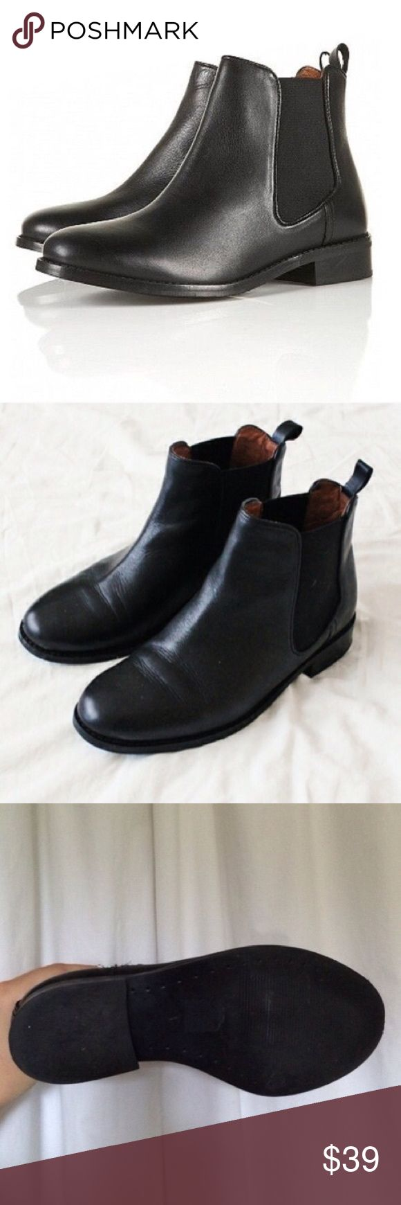 TopShop April Classic Black Leather Chelsea Boots TopShop Classic Black April Chelsea Boots. Genuine Leather Construction. Elastic Side Gusset. Slip-On Design. Ankle Length. Flat Heel. Size 38 or US 7.5. Used Condition. Similar Style to brands like: Joie, Rag and Bone, Free People, VINCE. Brandy Melville, Jeffrey Campbell, Sam Edelman, Alexander Wang, Helmut Lang, ACNE, Zara, Nasty Gal, Cheap Monday, La Garçonne, Totokaleo & Isabel Marant. Topshop Shoes Ankle Boots & Booties