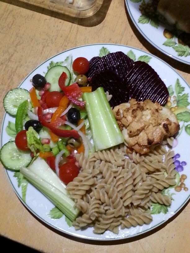 Peanut butter chicken, wholegrain pasta and salad