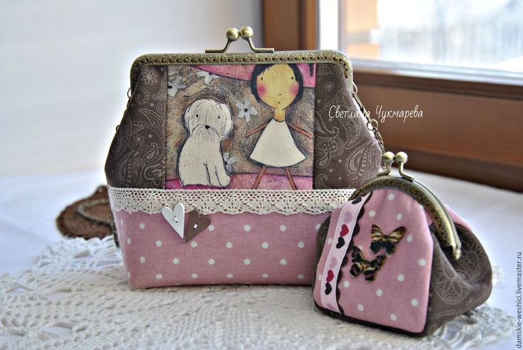 """Купить Сумка с фермуаром льняная и кошелек """"Девочка и собачка"""" - сумочка, сумка женская"""
