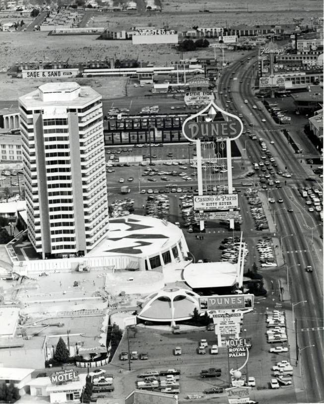 1960s aerial of the Dunes. Current location of the Bellagio.