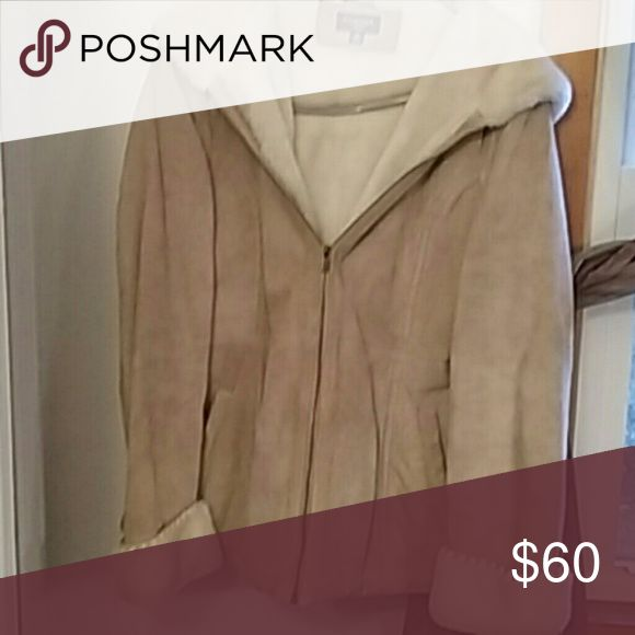 Sonoma Beige Suede winter coat Beige zip up with hood.barely worn maybe three times. sonoma Jackets & Coats