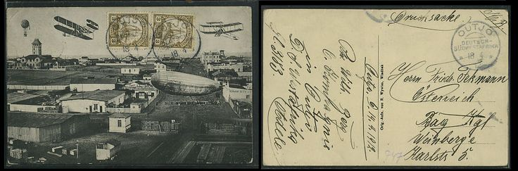 Swakopmund in the 21st century (with Zeppelins, Hot-Air balloons and Airplanes).      Published by R. Wywias.     Postally used with German S.W.A. on reverse.