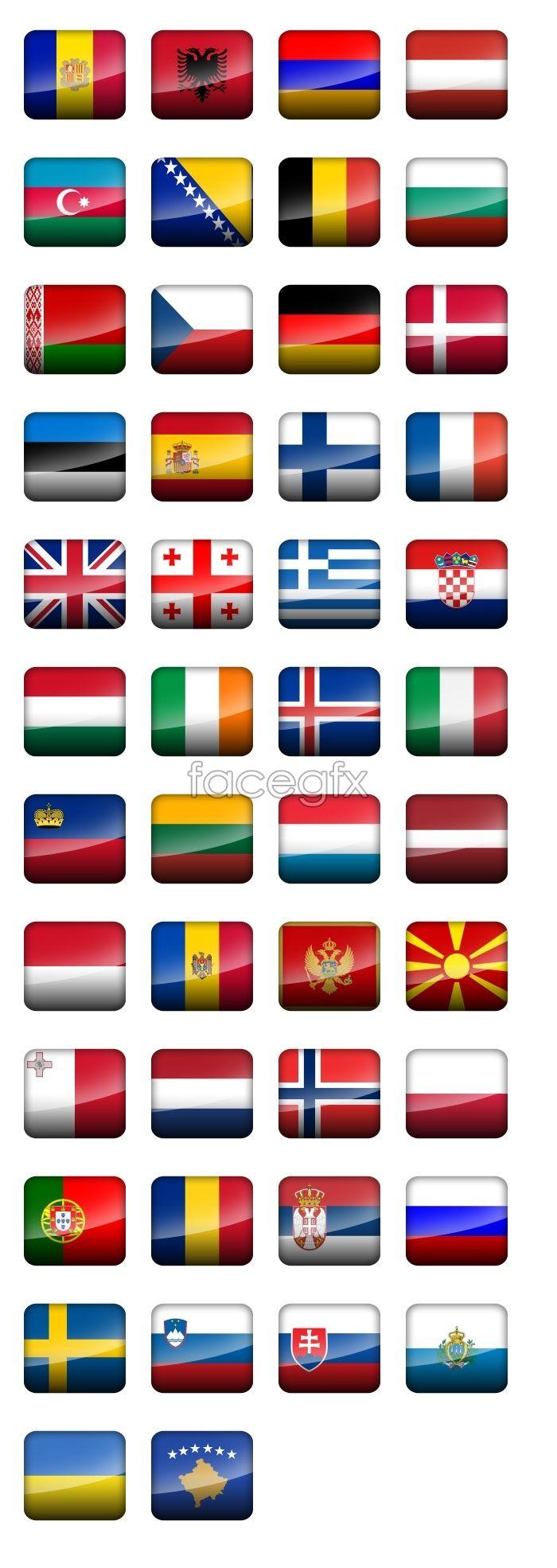 European countries flag icons
