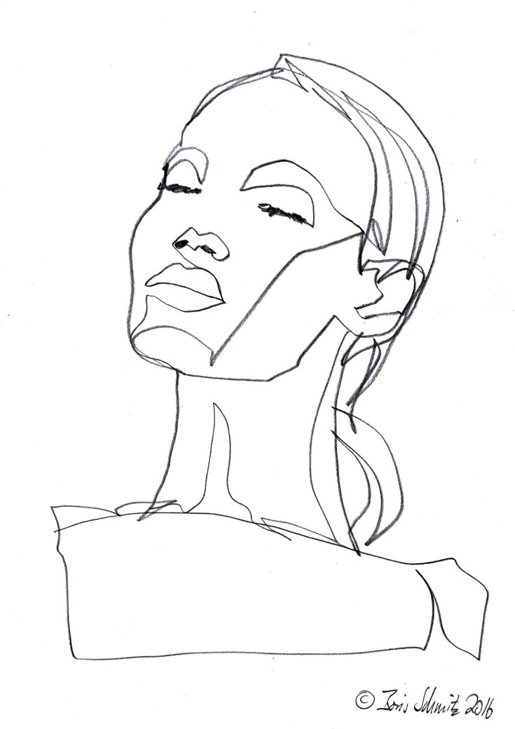 Continuous Line Drawing Face : Outline drawing of a face pixshark images