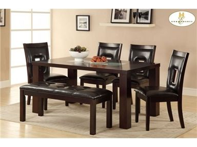 Homelegance Dining Room Dining Table, Crackle Glass Insert 2528 64 At  Spaces Limited