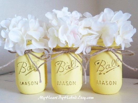 Yellow Vases Distressed Mason Jars Painted Mason by MyHeartByHand