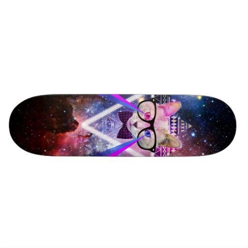 Hipster galaxy cat skate board deck #cat #hipster #galaxy
