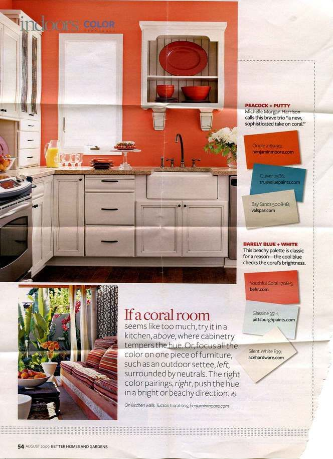 Best Ideas About Coral Kitchen On Color Trends Decor And Sherwin