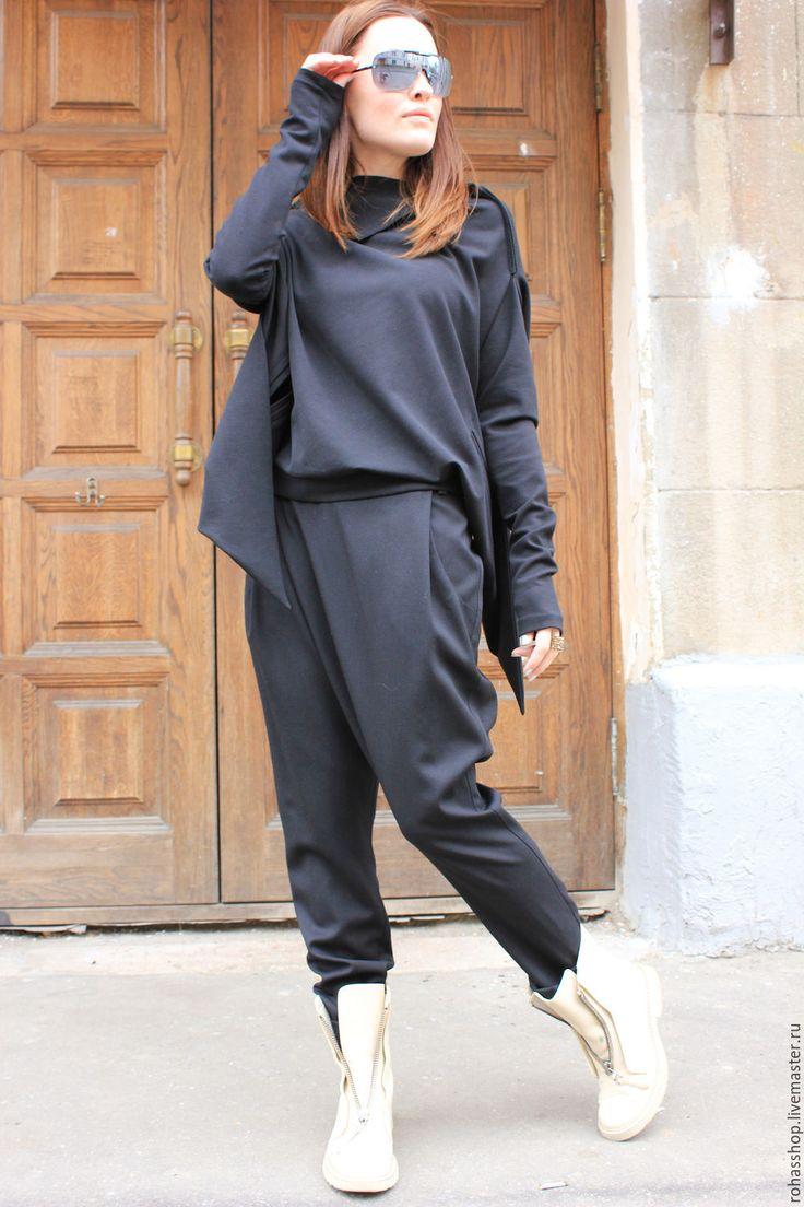 Купить Брюки Feeling - черный, брюки, брюки женские, брюки с мотней, стильные брюки