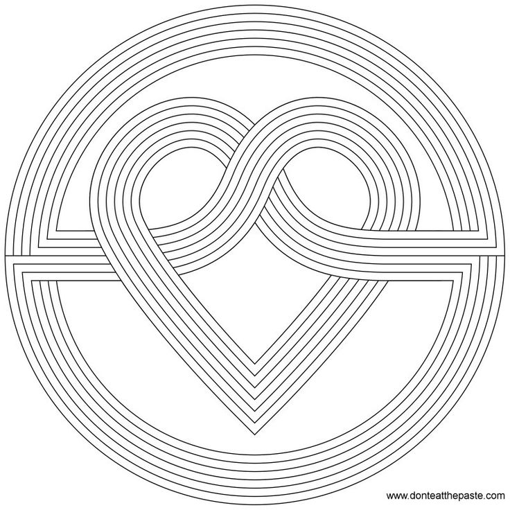 Simple Mandala Coloring Pages Printable Heart Knot