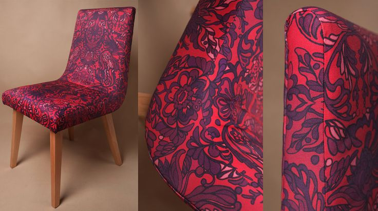 Vintage chair - 60s & 70s - flowery ornament RED by DesignPolski on Etsy