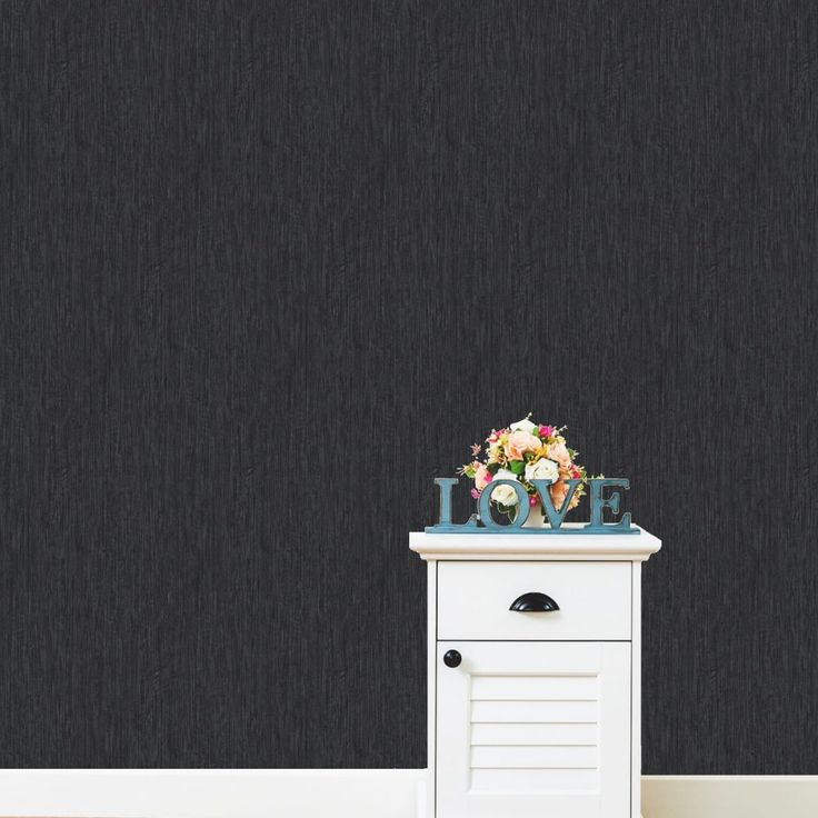 Love Your Walls Black Shimmer Plain Wallpaper E95119