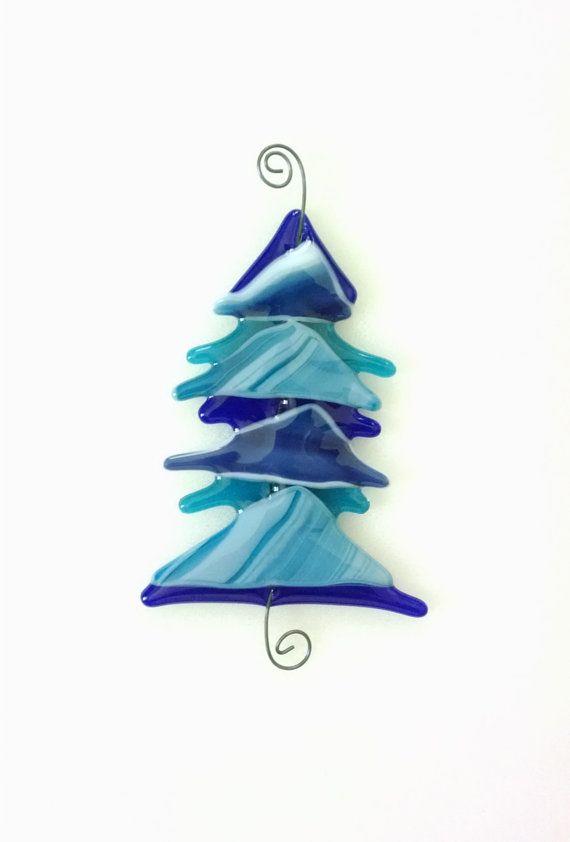 fused glass christmas tree blue glass tree christmas ornament glass - Glass Christmas Tree