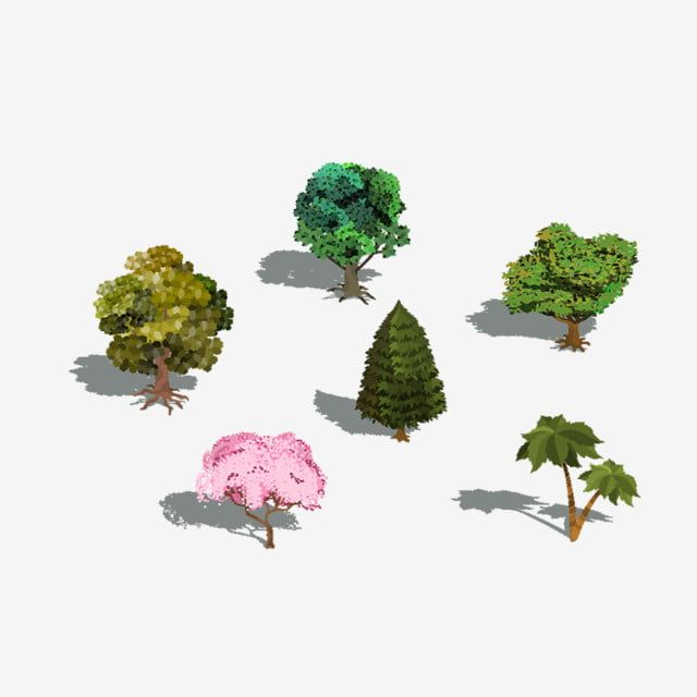 Set Of Vector 3d Isometric Trees With Shadow Object 3d Natural Png And Vector With Transparent Background For Free Download Tree Icon Background Banner Abstract Backgrounds