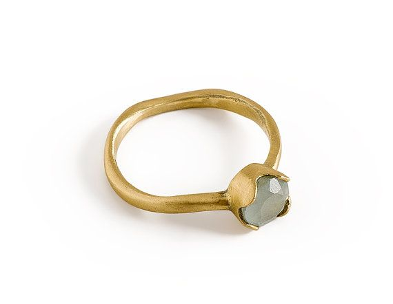 aquamarine engagement ring 14k solid gold milky by