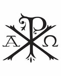 Original symbol for Jesus Christ. Greek KH = Chi Rho = Khristos = Jesus the Messiah = the alpha and omega.