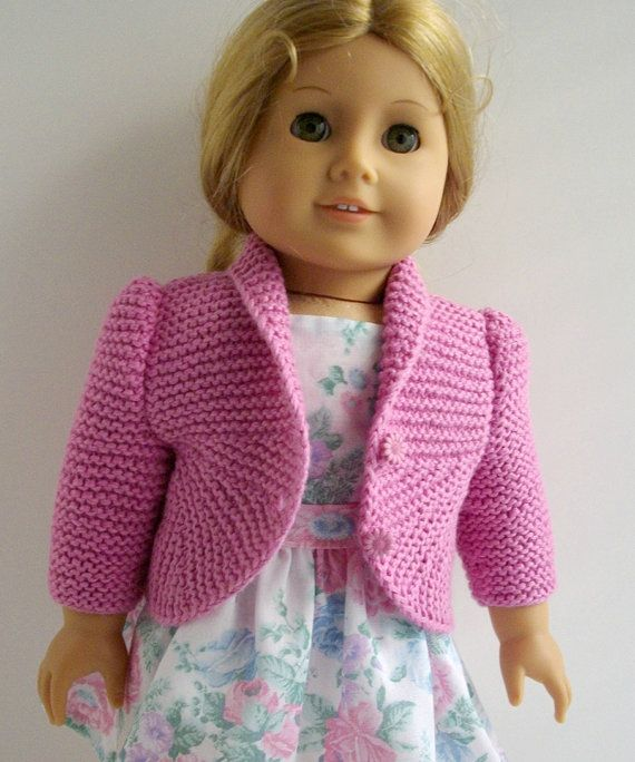 American Girl doll 18 inch Gotz  doll Knitting Pattern  Pink Jacket Cardigan with Curved Hem,PDF, instant download, Permission to Sell