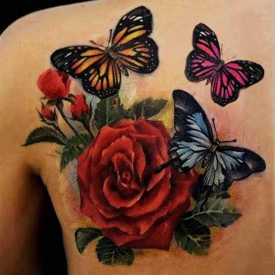 Rose And Butterfly Tattoo     Butterflies would have my children's names on them :-)