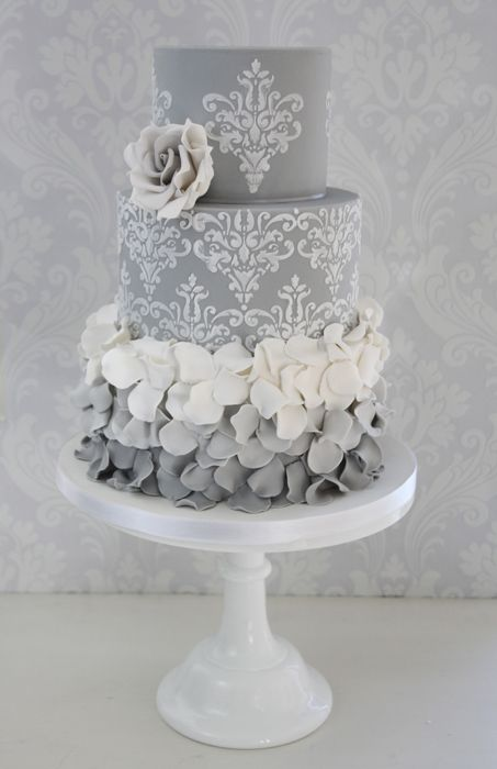 Grey n White Wedding Cake