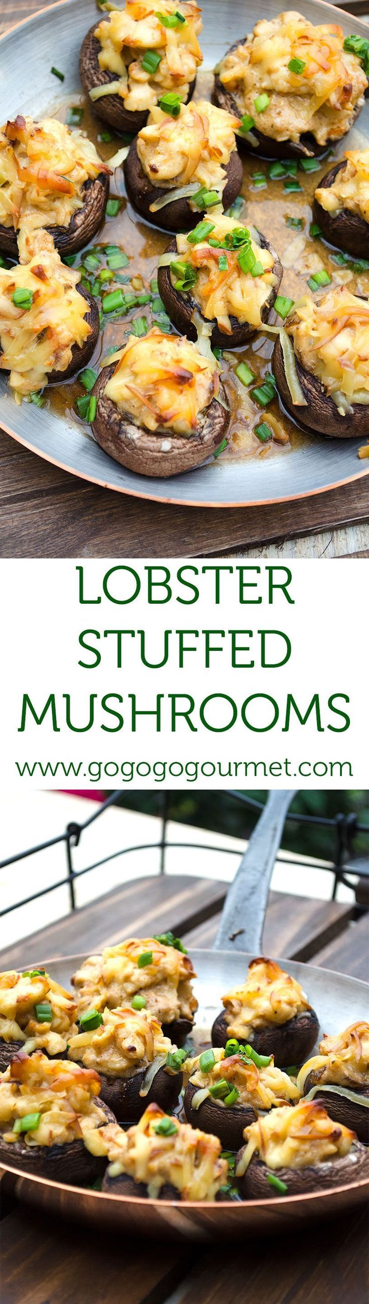 Chunks of buttery lobster and smoked gouda stuffed inside mushrooms...heaven on earth:) #seafoodrecipes