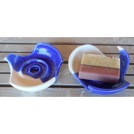 """Soaptray """"Seagull"""" blue-white, handmade by Tinos-Ceramics"""