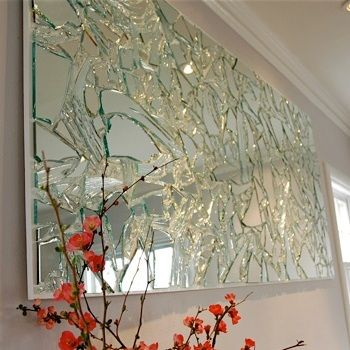 """DIY Broken Mirror Wall Art. Fun project and easy to do. Tutorial from Potholes & Pantyhose here.*Love how this is listed on her blog under """"arts and crap""""."""