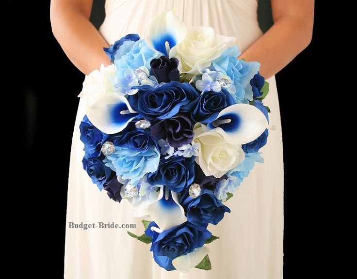 Teardrop Bouquet With Navy Blue Royal Blue And Baby Blue Roses And Hydrangea Accented With