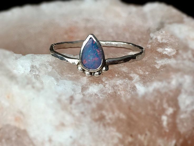 Twilight Skies, Sterling Silver Australian Opal Ring, genuine opal ring, October birthstone ring, dainty opal ring, dainty jewelry, made to by TheSilverSpellStudio on Etsy https://www.etsy.com/listing/274946914/twilight-skies-sterling-silver