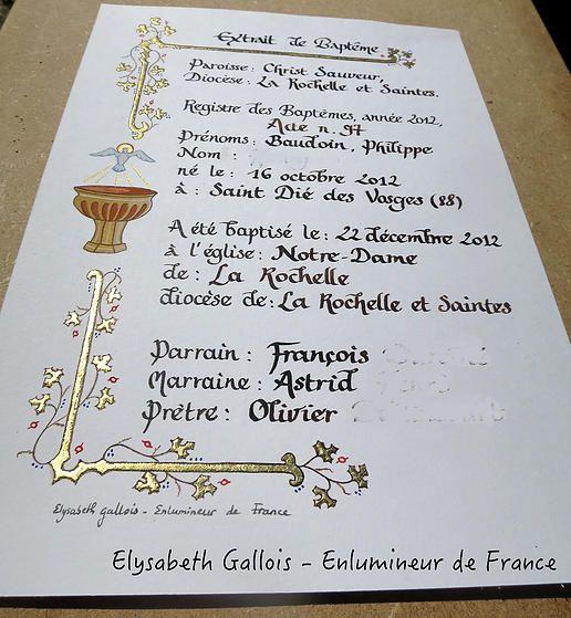 Elysabeth Gallois Enlumineur de France - Créations - Acte de Baptême