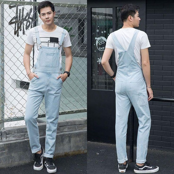 Fashion Plus Size 5XL light blue Denim Jumpsuit Spring Baggy cargo pants Loose jean bib overalls Suspenders Trousers for male 06