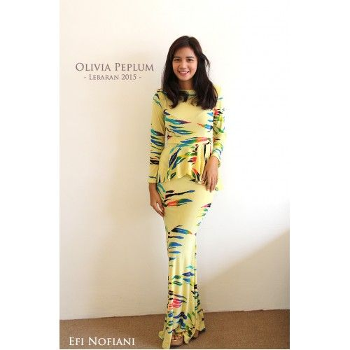 Olivia - Light Yellow (KISS) - Stylish light yellow with colourful stripes kurung moden peplum. #kurungmoden #kurungmodern #peplum #peplumtop #bajuraya2015 #raya2015 #bajuraya #hautecouture #fashion #fashiondesign