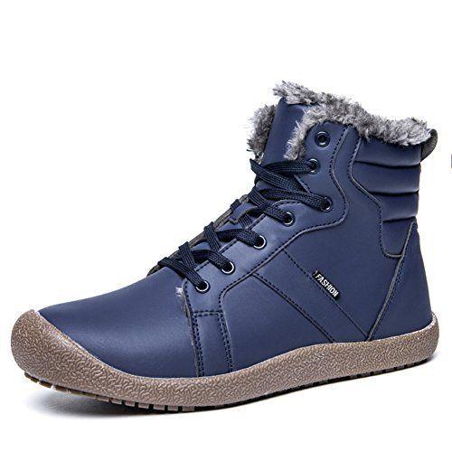 Homme Femme Bottes De Neige Fourrées Impermeables Bottines Cuir Hiver Chaussures Chaudes Lacets Plates Cheville Boots: Hiver Bottes Homme…