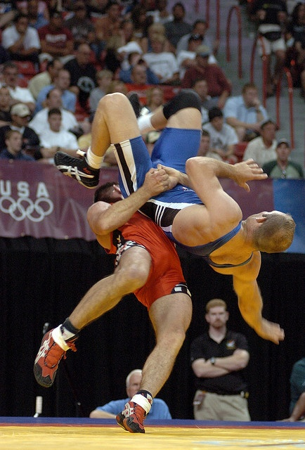 Army Wrestler Earns Greco-Roman Berth in Beijing Olympics: In the final wrestling tournament of his career, Staff Sgt. Keith Sieracki throws U.S. Army World Class Athlete Program teammate Sgt. Jess Hargrave during their 74-kilogram Greco-Roman match in the 2008 U.S. Olympic Team Trials for Wrestling June 14 at the University of Nevada, Las Vegas' Thomas & Mack Center. Photo by Tim Hipps.