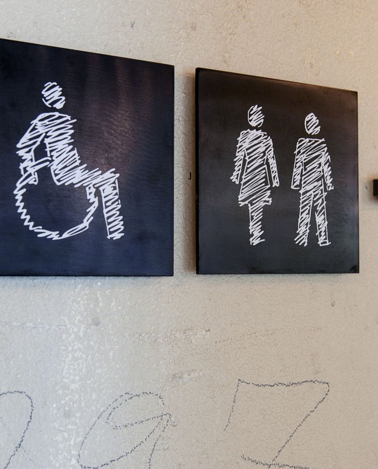 "Caritas Ankerbrotfabrik | buero bauer Inclusive design / hand-draw pictograms ""The image of current wheelchair user is stigmatising. The person seems like a captive,completely dependent and cannot move on their own."""